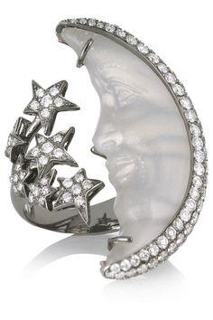 Lydia Courteille Moon 18-karat blackened gold, moonstone and diamond ring NET-A-PORTER.COM