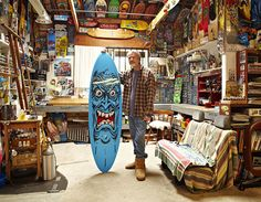 jim phillips man cave - workshop, studio... I would kill to check this place out. What this single man has churned out for the skate, surf & snow Industry is beyond total bullshit. So many of Jim's designs have become true icons in his lifetime. His 'Screaming Hand' artwork for Santa Cruz almost defines skateboarding period. If I had to describe Jim in just 'one' word it would be...TIMELESS.