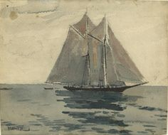"""Gloucester Schooner"", Winslow Homer, c. 1880, Watercolor (bl. chalk under drawing?), 8 1/4 x 9 13/16"", Yale University Art Gallery."