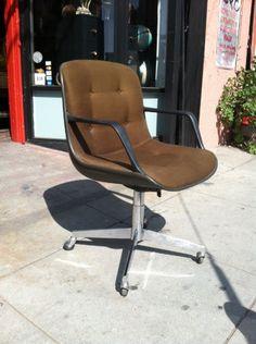 vintage steelcase chair wooden reclining garden chairs uk 70s orange tweed on wheels | casa victoria la office space ...