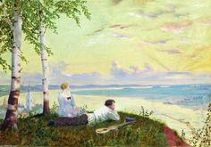 Sur la Volga (2), huile sur toile de Boris Mikhaylovich Kustodiev (1878-1927, Russia)