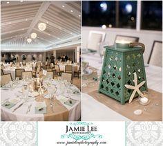 Naples Beach Hotel | Naples Wedding Photographer | Jamie Lee Photography | Beach Themed Wedding Reception | White Tables, Burlap Runner, Seashells