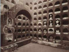 Roman columbarium - When an ancient Roman was dying, the oldest surviving male of the family leaned in close to the dying person and attempted to inhale the dying breath. The rites lasted several days and often featured hired mourners and professional dancers. Almost all Romans were cremated, and their ashes placed in a columbarium.