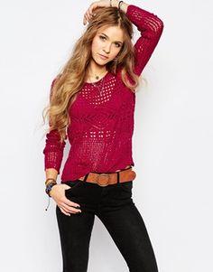Hollister Crochet Knit Jumper from ASOS