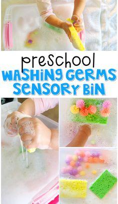 We LOVE this washing germs sensory bin. Great for a healthy habits theme in tot school, preschool, or even kindergarten!