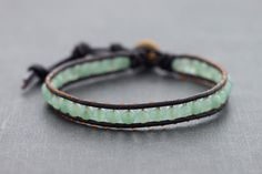Jade Brown Leather Beaded Bracelet by XtraVirgin on Etsy