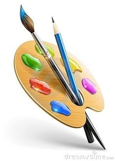 Illustration about Art palette with paint brush and pencil tools for drawing vector illustration Transparent objects used for shadows and lights drawing. Illustration of artist, arte, illustration - 22977877 Art Painting Tools, Pallet Painting, Painting Patterns, Painting & Drawing, Paint App, Clip Art, Art Party, Doodle Drawings, Canvas Art