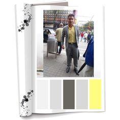Paleta de color: Colores  (Amarillo,gris claro, negro) Ropa:  vestido,camisa y zapatos. Accesorios: Maletin Tonos pasteles que logran sentir identificado a el hombre metro-sexual con un estilo mas ajustado dejando ver sus atributos. Es tranquilo
