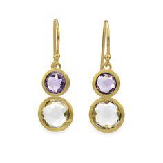 18 Karat Gold Plated Faceted Amethyst Drop Earrings