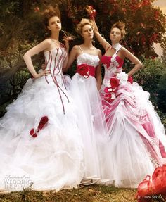 Red And White Wedding Dress (Source: weddinginspirasi.com)