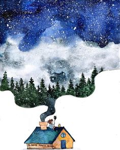 Illustration by Manka Kasha - Ego - AlterEgo Watercolor Illustration, Watercolor Paintings, Silly Pictures, Plein Air, Ciel, Cute Drawings, Cute Art, Art Sketches, Artsy