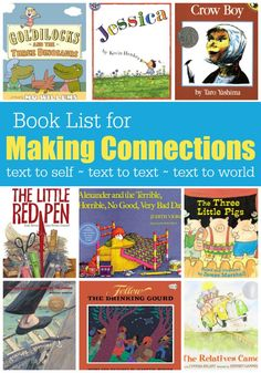 Book list for Making Connections - text to self, text to text, and text to world - This Reading Mama.Today, I'm going to share a book list for making connections as well as briefly talk about the kinds of texts you want to pick for each. Kindergarten Reading, Reading Activities, Reading Skills, Teaching Reading, Guided Reading, Reading Books, Children's Books, Shared Reading, Grade Books