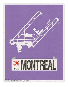 Fly me to Montreal Canada YUL - International Airport Code Runway Map Aviation Art Print Poster Airplane Nursery Decor