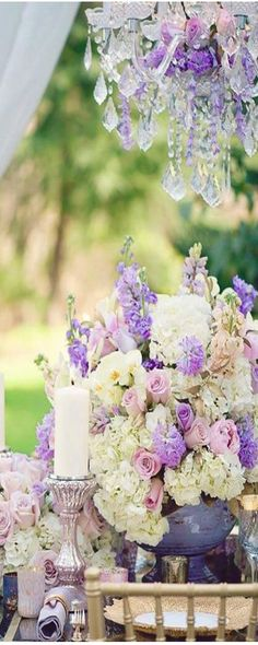 Beautiful pink and lavender wedding decor