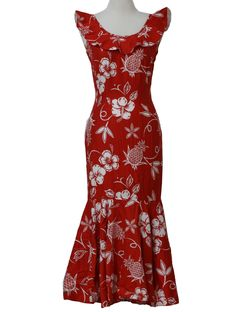 Hawaiian Clothing | - Womens red and white cotton blend sleeveless calf length Hawaiian muumuu https://womenfashionparadise.com/