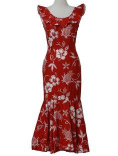 Hawaiian Clothing | - Womens red and white cotton blend sleeveless calf length Hawaiian muumuu