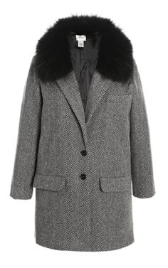 Herringbone Coat with Detachable Fox Fur Collar by Kule...BozBuys Budget Buyers Best Brands! ejewelry & accessories...online shopping http://www.BozBuys.com