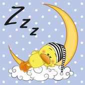 Illustration about Cute Duck is sleeping on the moon. Illustration of childbirth, hood, cute - 52352690 Good Night Greetings, Good Night Messages, Good Night Wishes, Good Night Sweet Dreams, Good Morning Good Night, Duck Pictures, Teddy Bear Pictures, Funny Animal Pictures, Duck Drawing