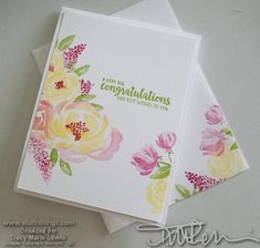 Colorful Floral One Layer Card – Simple And Casual Stamping – Scrapbooking Tarjetas Stampin Up, Stampin Up Karten, Friendship Flowers, Friendship Cards, Congratulations And Best Wishes, Stampin Up Catalog, Stamping Up Cards, Nail Stamping, Beautiful Handmade Cards