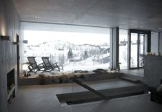 Sirdalen House is a holiday house designed by Filter Arkitekter, an architecture studio based in Oslo, Norway. Concrete Houses, Concrete Building, Design Your Dream House, House Design, Snow Cabin, Minimal Home, 3d Home, Decoration, Architecture Design