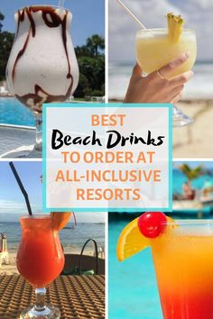 36 Best Beach Drinks to Order at All-Inclusive Resorts (+ Recipes!) Best Beach Drinks to Order at All-Inclusive Resorts Fun Drinks Alcohol, Fruity Drinks, Alcohol Drink Recipes, Non Alcoholic Drinks, Frozen Drinks, Beach Cocktails, Summer Drinks, Cocktail Drinks, Drinks On The Beach
