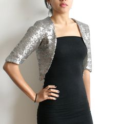 DISCOUNTED SMALL Silver Sequin Bolero Wedding Cropped by Kulayan