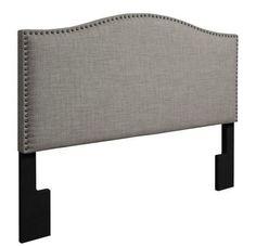 Grey Bedroom Headboard Full/Queen Size Linen Fabric Upholstered Padded Nailhead