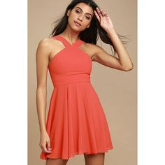 Forevermore Coral Red Skater Dress ($59) ❤ liked on Polyvore featuring dresses, red, red flare dress, skater skirt, halter skater dress, halter top and red dress