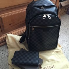 "Louis Vuitton Backpack & Wallet! Black & Grey Damier LV Backpack & Wallet""Azur"" ! ❤️❤️ not for Sale! Louis Vuitton Bags Backpacks"