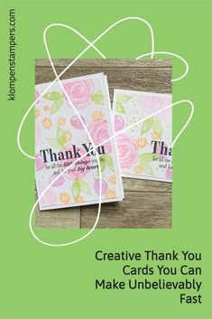 I have so many thank you cards to make but sometimes I need fresh design ideas so that's what I set out to do today. These are quick and simple cards to make. You start out by stamping a piece of cardstock to be your 'designer paper' and then chop it up to make your 4 cards. Check out the details at www.klompenstampers.com Card Making Tips, Card Making Tutorials, All You Need Is, Note Cards, Thank You Cards, One Sheet Wonder, Paper Crafts, Card Crafts, Paper Design