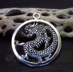 5PCs Asian Dragon Wholesale Silver Plated Pendant Charms - C8596