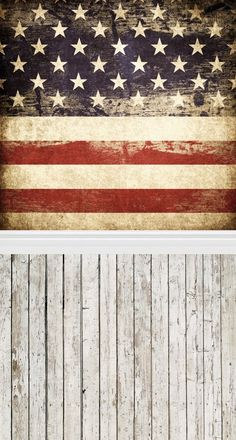 Laeacco Stars and Stripes US Flag Wall Pattern 5x7ft Vinyl Photography Background Grunge Retro Wooden Floor American Flag White Stars Blue Background Red White Striped Photo Studio Props