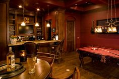 Classic man cave with a full bar and leather bar stools. Classic man cave with a full bar and leather bar stools. Really love that the pool table matches th Man Cave Designs, Bar Billard, Billards Room, Rustic Man Cave, Western Man Cave Ideas, Country Man Cave, Game Room Bar, Game Rooms, Home Pub