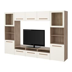 "BESTÅ TV storage combination/glass doors - walnut effect light gray/Marviken white clear glass, drawer runner, soft-closing, 118 1/8x15 3/4x75 5/8 "" - IKEA"