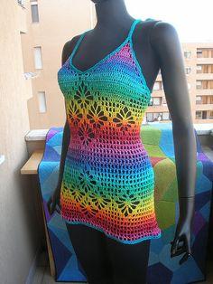 Rainbow Crochet Rhombs Summer Dress