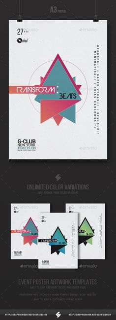 Transform Beats  Minimal Party Flyer Template A3  — PSD Template #house #club • Download ➝ https://graphicriver.net/item/transform-beats-minimal-party-flyer-template-a3/18515971?ref=pxcr