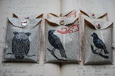 Vintage Book Page and Animal Stamp Gift Bag Idea. Or use it for a little pocket for an art journal page.
