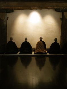 Zen monks practicing meditation.