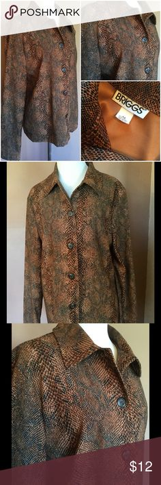 """🆕 Briggs Beautiful Jacket ! 🌟 Briggs beautiful browns and blacks ! Snakeskin design ! About 25"""" length ! 5 buttons down the front ! Completely lined in bronze color ! Lightweight ! Machine wash cold tumble low ! Made in USA ! 🇺🇸 🌟 Briggs Jackets & Coats"""