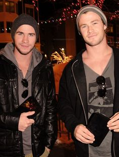 Can we just take a moment and admire these ridiculously attractive men? Liam and Chris Hemsworth.