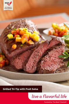 This grilled Tri-Tip roast is perfect for when friends are coming over. Just brush with a lime-honey glaze then top with a quick papaya, jalapeno and lime salsa to brighten up the finished dish. Funded By The Beef Checkoff