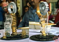 Handmade trophies made from recycled auto parts #Auto, #Parts, #Recycled, #RecycledTrophies, #Trophies