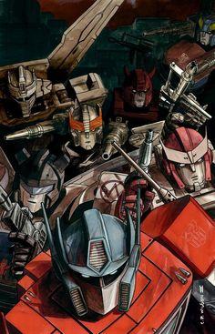Transformers - Optimus Prime, Ratchet et al Gi Joe, Comic Books Art, Comic Art, Transformers Generation 1, Transformers Optimus Prime, Transformers Characters, Transformers Energon, Fanart, Animation