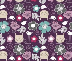 Purple owls  fabric by emrick123 on Spoonflower - custom fabric