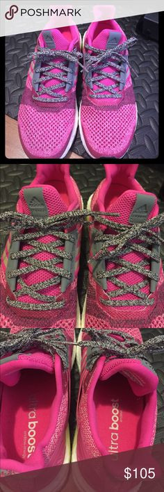 Pink Adidas Ultra Boost Shoes Like new pink Adidas Ultra Boost Shoes worn once on treadmill. Super cute but a tad too big for me. I would say it runs slightly big. Very comfortable and in excellent condition! adidas Shoes Athletic Shoes