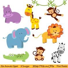Zoo Animal Clip Art, Zoo Animal Clipart, Safari Jungle Animal Clipart Clip Art - Commercial and Personal Use Party Animals, Safari Animals, Animal Party, Felt Animals, Clipart Baby, Zoo Clipart, Clipart Images, Tier Zoo, Decoration Creche