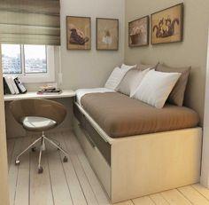 petite chambre ado en couleur beige avec un lit et bureau