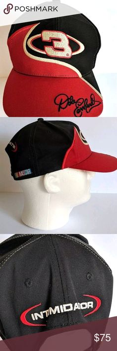 Vintage Dale Earnhardt 3 Intimidator Red Black Hat Embroidered red and black  snapback hat  3 0ea11eef282b