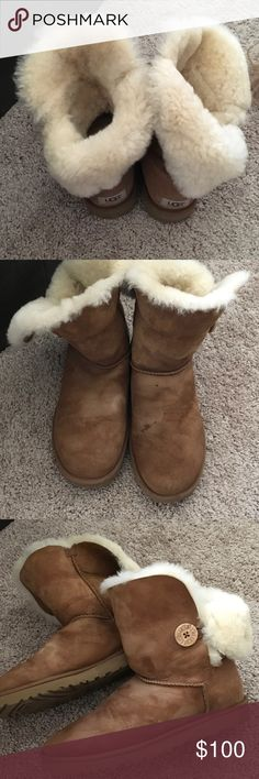 Auth Rare Size Ugg Boots💫💫 These ugg boots have lots of life in them...a few water marks ...but as you can see the fur and wear on the bottom is perfect!!...well thanks for peeking UGG Shoes Ankle Boots & Booties