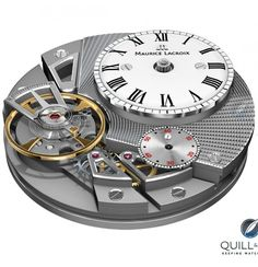 Maurice Lacroix Caliber ML 230 powers the Masterpiece Gravity - The latest example of Maurice Lacroix's independent idea of movement architecture – this time designed by Maurice Lacroix's head of movement design, Michel Vermot – comes with the Caliber ML 230, which is highly visible inside the high domed crystal of the Masterpiece Gravity. Click on the image for more details...